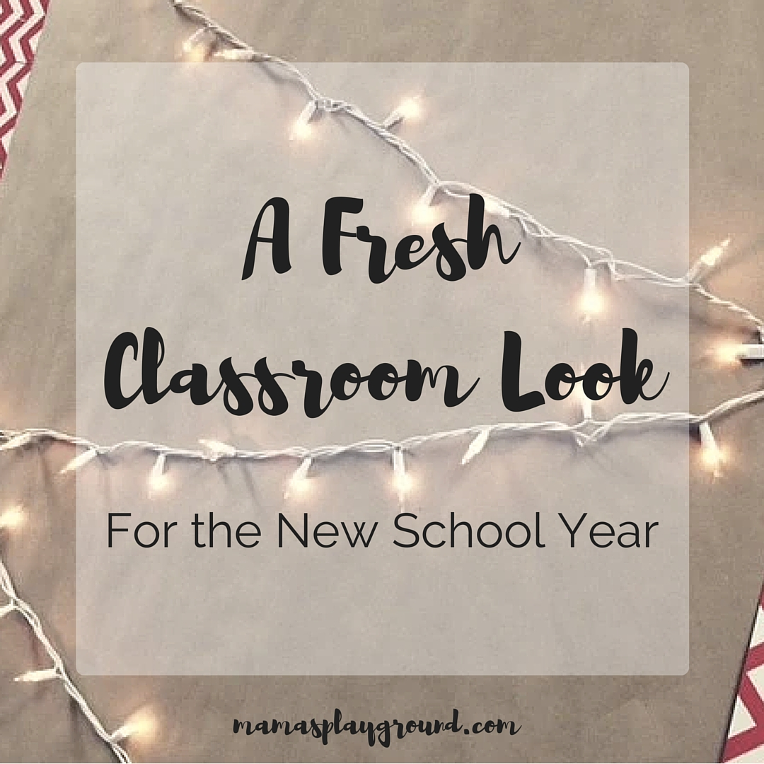 A fresh classroom look using kraft paper backgrounds, white string lights and DIY border chains.