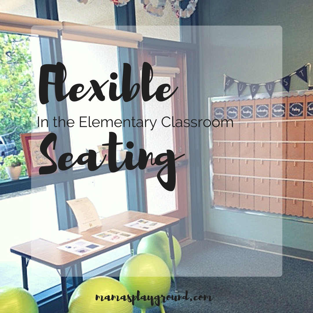 Flexible seating in an elementary classroom.